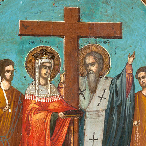 Icon of the Exaltation of the Holy Cross depicting St. Helen and St. Constantine.