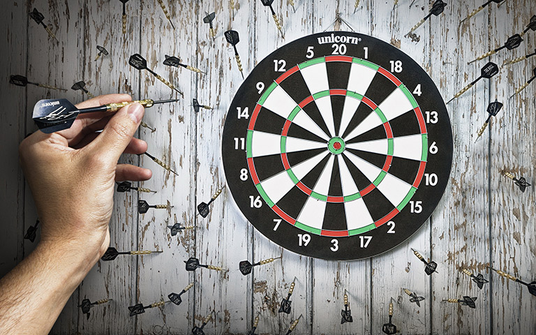 dart board with none of the dart hitting the board