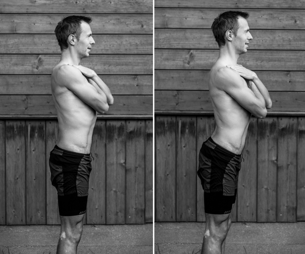 In the left image, spine is in neutral position, and excessive back arch on the right