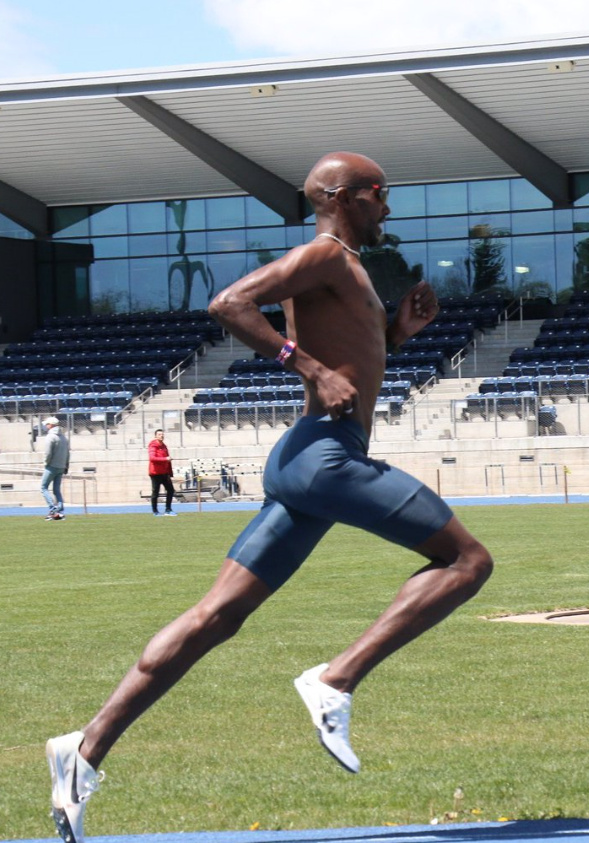 Mo Farah during his training for Rio. Full hip extension without compromising position of the spine