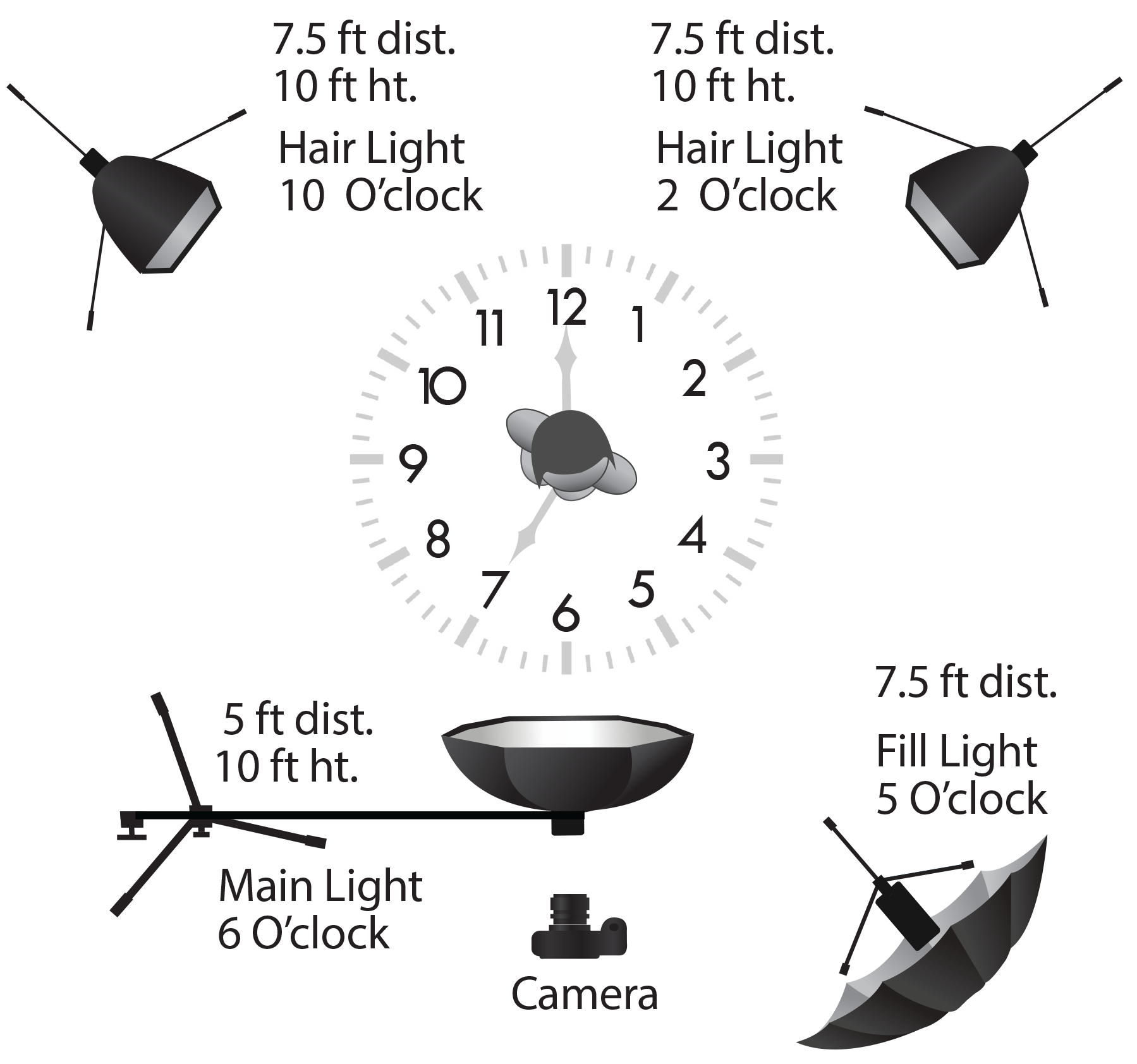 The above lighting diagram shows the position of the lights with respect to the subject.