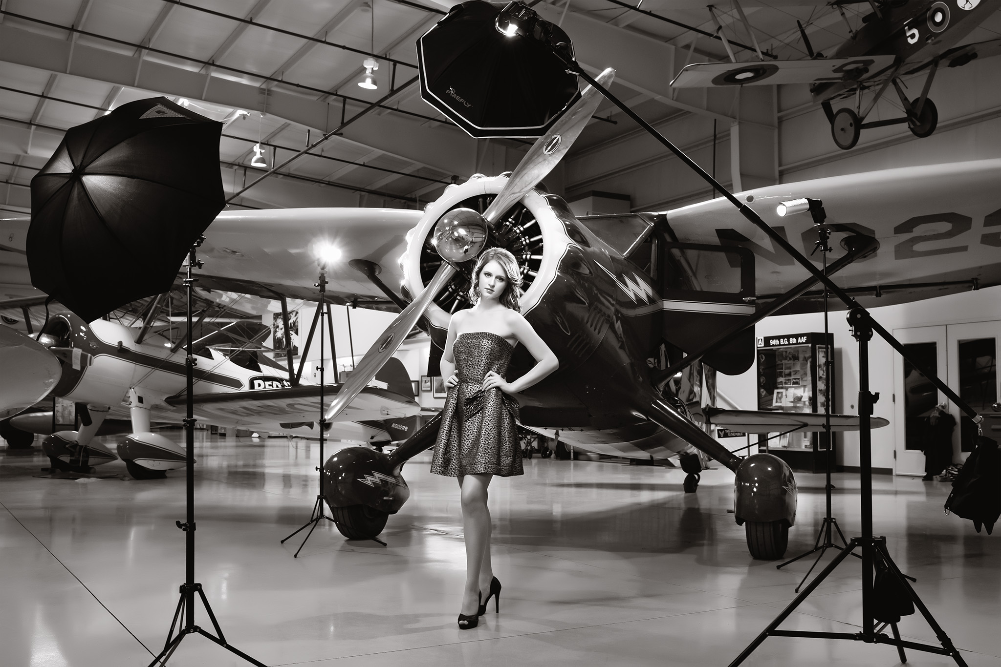 Elizabeth Riley models at the CAF Air Museum home of my 40's Hollywood Lighting Workshops