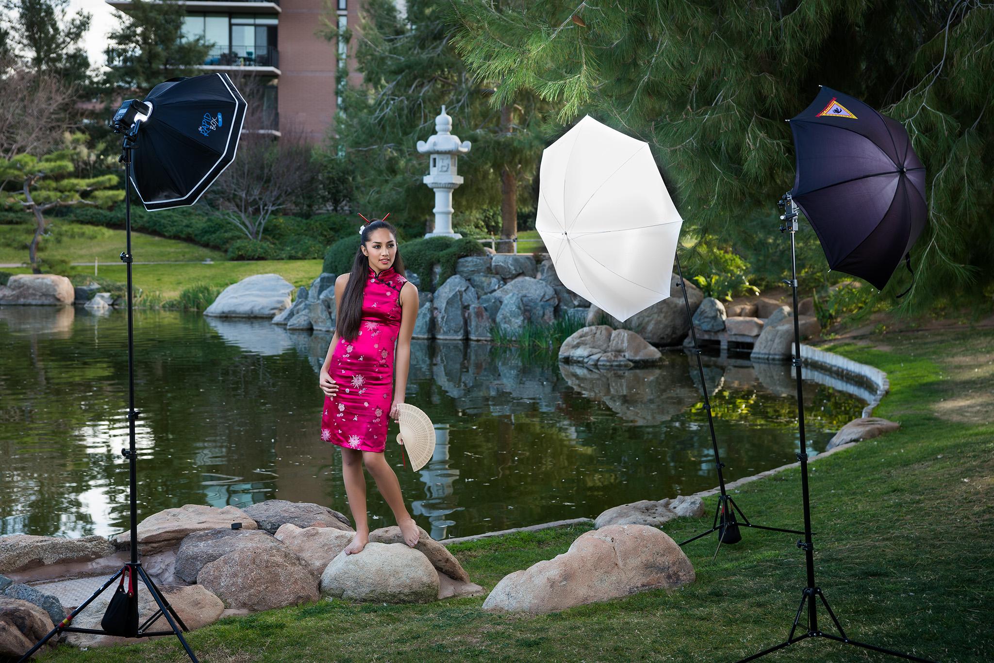 Gabrielle Arcilla strikes up an alluring pose at the Japanese Friendship Garden in Phoenix, Arizona