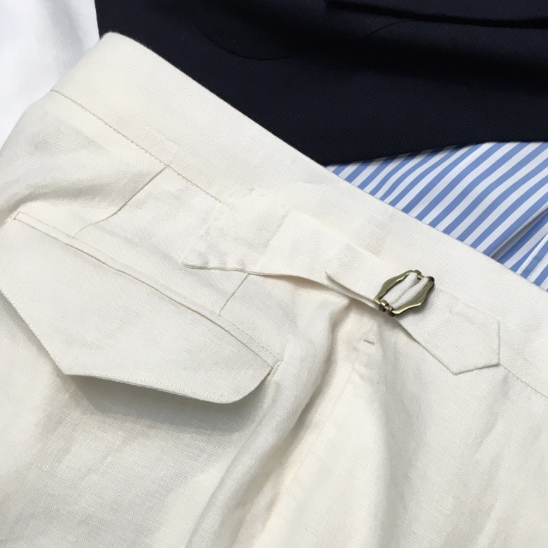 Bespoke Handmade Leisure Trousers in Irish Linen.    (Available at Magnus & Novus)