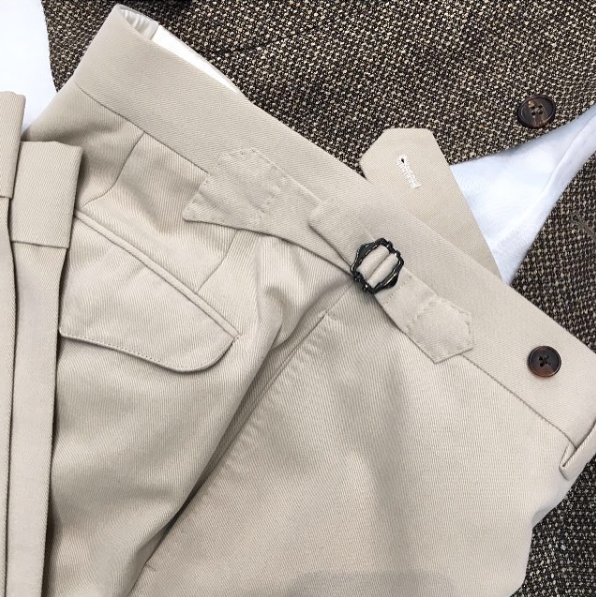 Handmade Bespoke Trousers, Brushed Cotton Chinos.     (Available at The Rake)