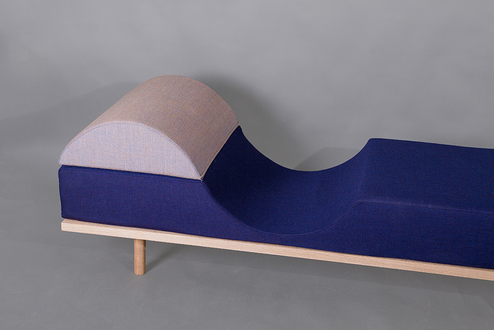 The daybed,  Nami , by Frid Smelter Høgelid has an S-curved mattress to encourage relaxation.