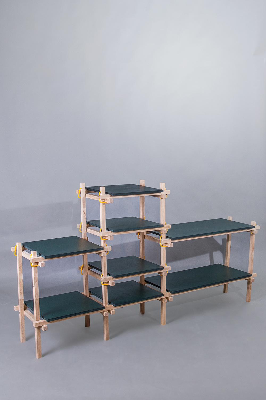 Lena Mari Skjoldal Kolås'  Gerrit  shelving is also designed for workshops. Made of simple solid oak elements.