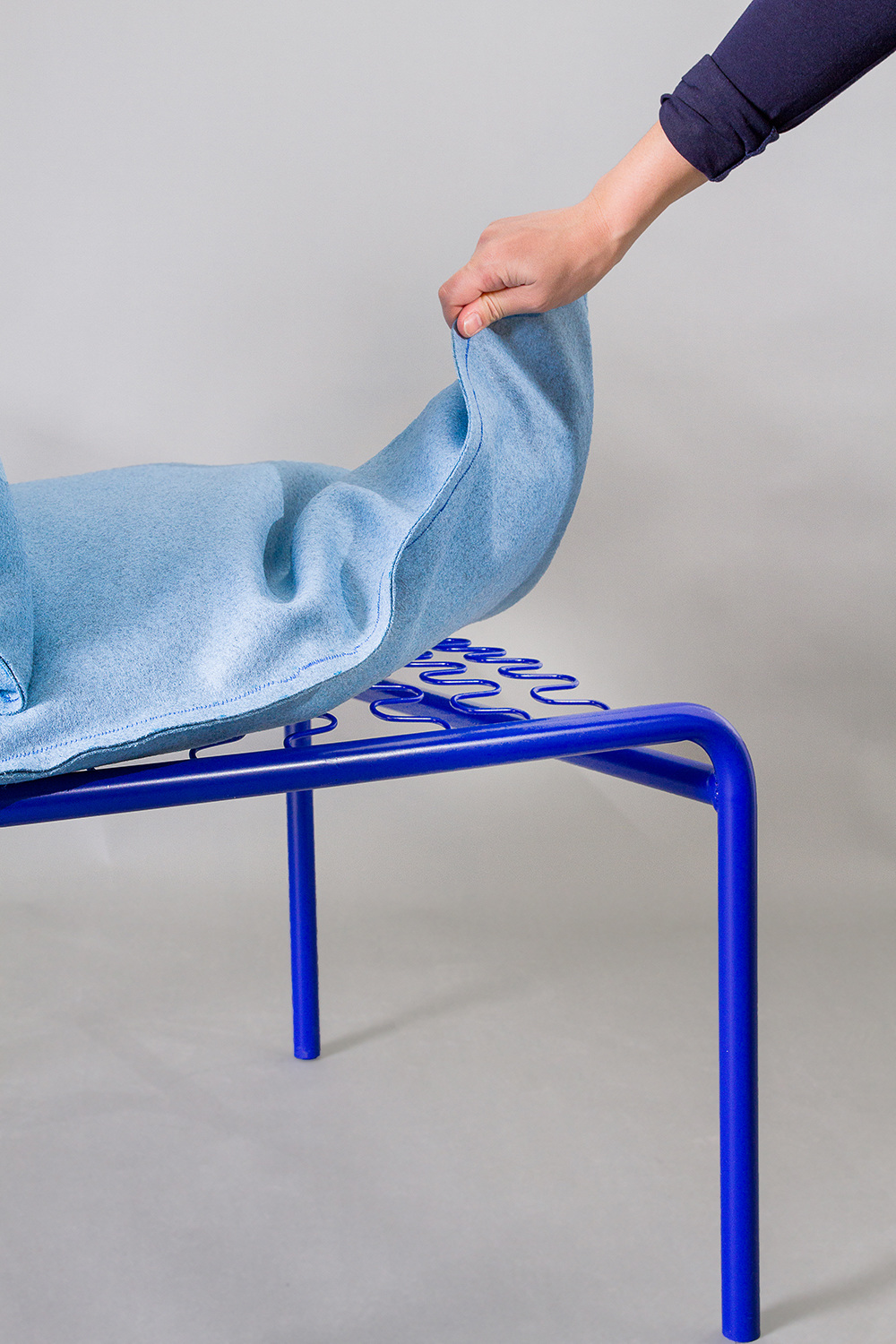 Camilla Figueroa's  Siksak  chair. Designed to offer the sitter numerous sitting positions.