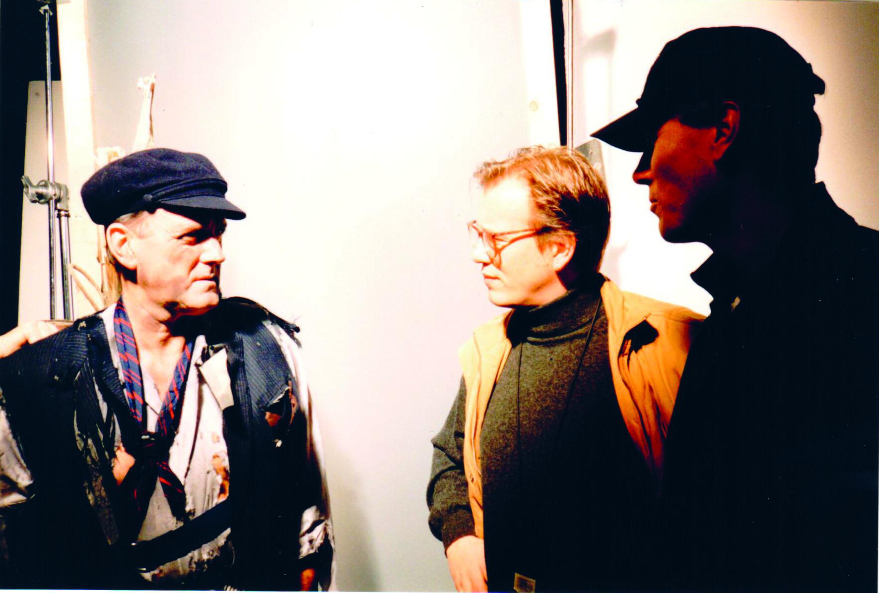 Kjetil Try (in orange) shooting an ad starring John Cleese (to the left).