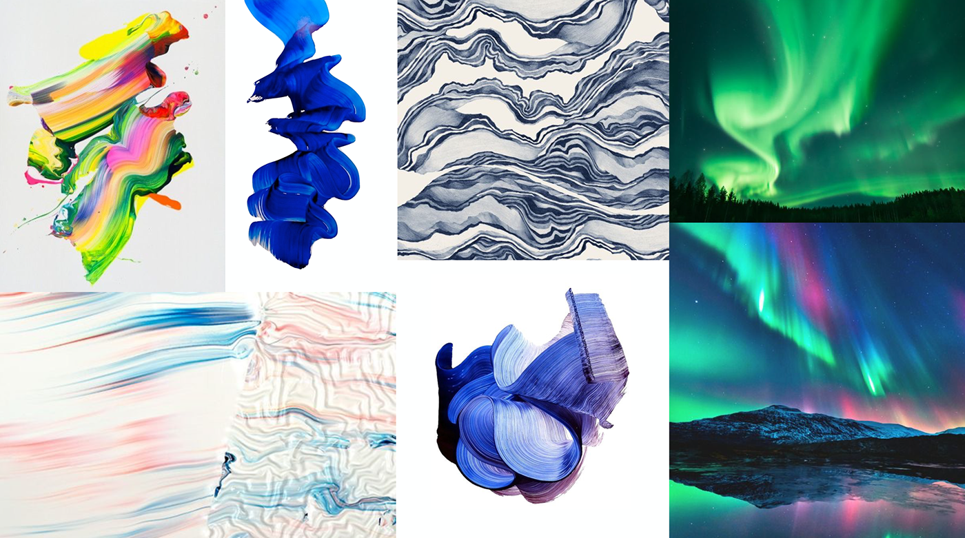 M:  The idea they chose is based on something all of the nordic countries is known for; their beautiful northern lights.Can I visualize the northern lights in a new, more abstract way?For example with paint-strokes? This might draw associations to both northern countries, and art and creativity.