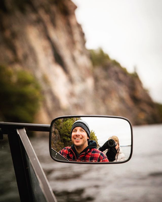 My brother in his element.  Who can recall the author inscribed on these cliffs?  #bonechoprovincialpark #mazinawlake #cloyne #mirrorselfie #rearviewmirror #canon6D #canon2470 #boatlife #jmcraephotography #cliffs #ontarioparks