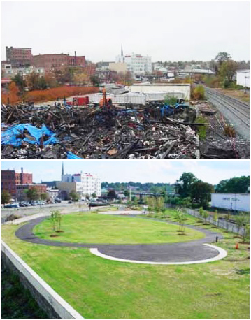 BEFORE & AFTER: The Hope Rubber factory parking lot and industrial waste site was transformed into a riverfront park in Fitchburg, Mass. Photo credit: U.S. Environmental Protection Agency.