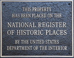 Photo of a National Register of Historic Places plaque