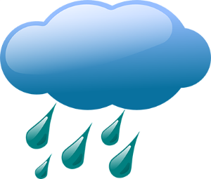Cartoon illustration of a storm cloud with rain droplets