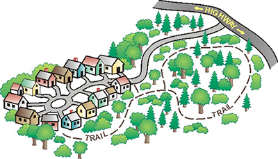 Cartoon illustration of a housing development next to a wooded area with trails and roads