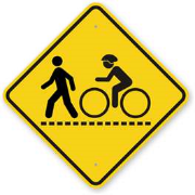 Traffic sign showing a pedestrian and a bicyclist