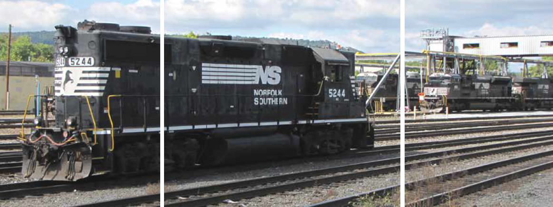 Norfolk Southern train engine in Harrisburg Rail Yard
