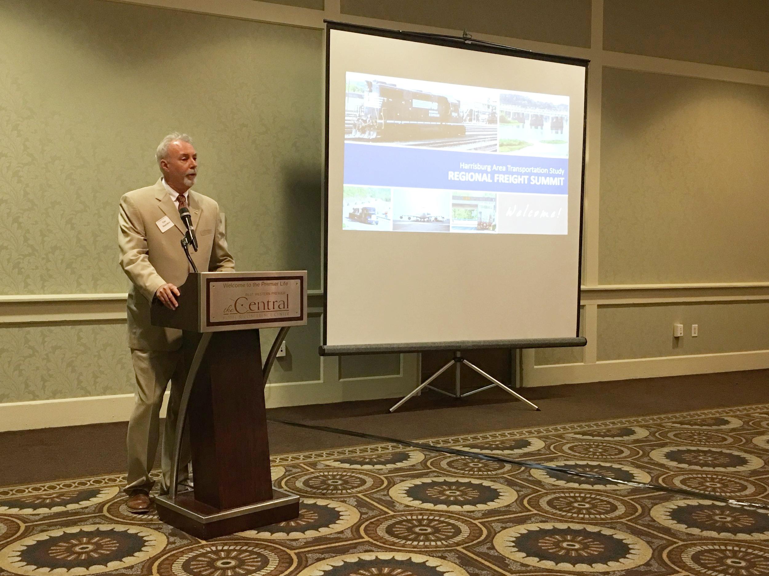 TCRPC Executive Director Tim Reardon opens the Regional Freight Summit.