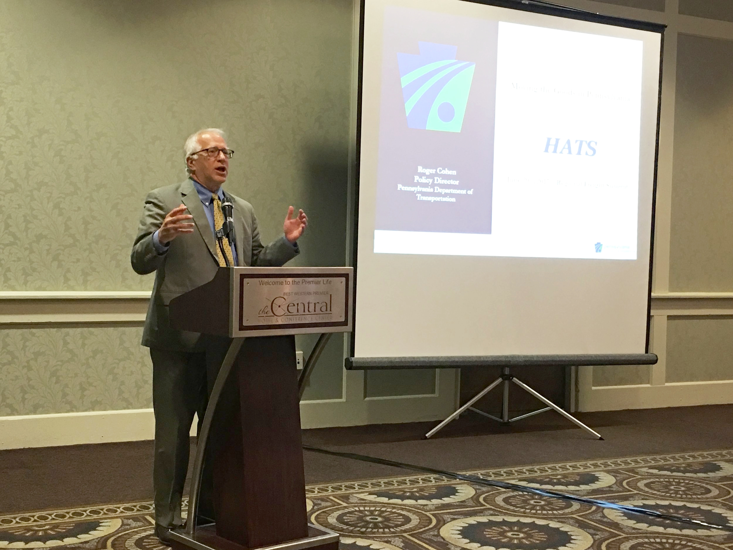 The summit's keynote speaker, PennDOT Policy Director Roger J. Cohen, discusses the state's many transportation challenges and goals, including an expected increase in truck traffic in the HATS region.