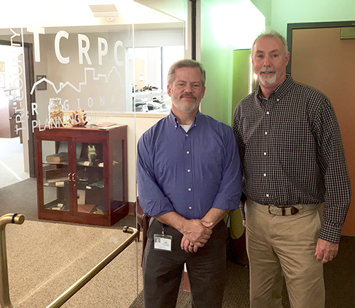 Steve Deck, left, will succeed retiring Tim Reardon, right, as executive director of the Tri-County Regional Planning Commission in January.