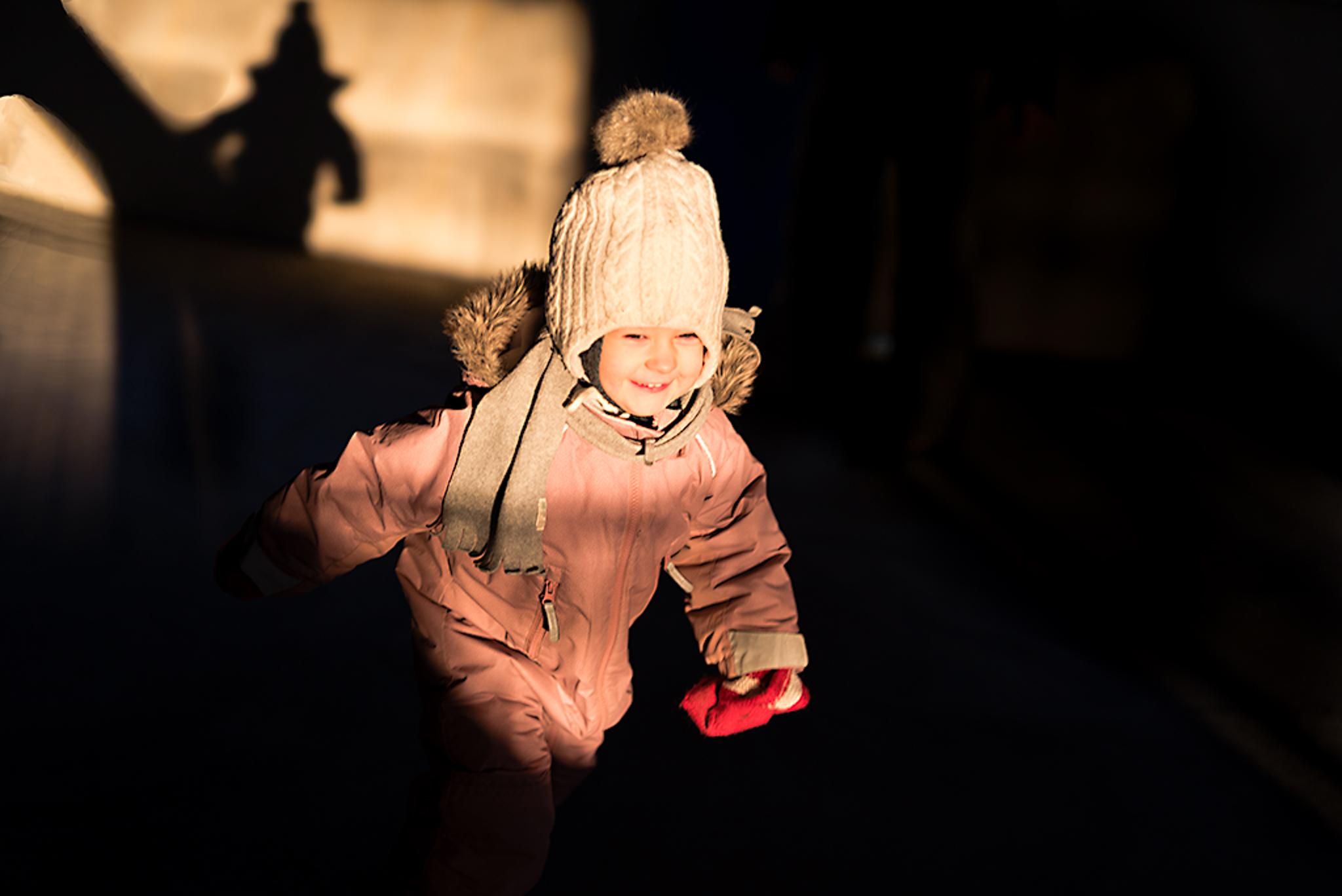child running in evening light