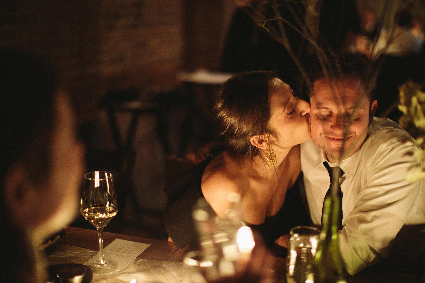 Bashful Kiss, Wedding of Kira & Scott, Burlington, VT