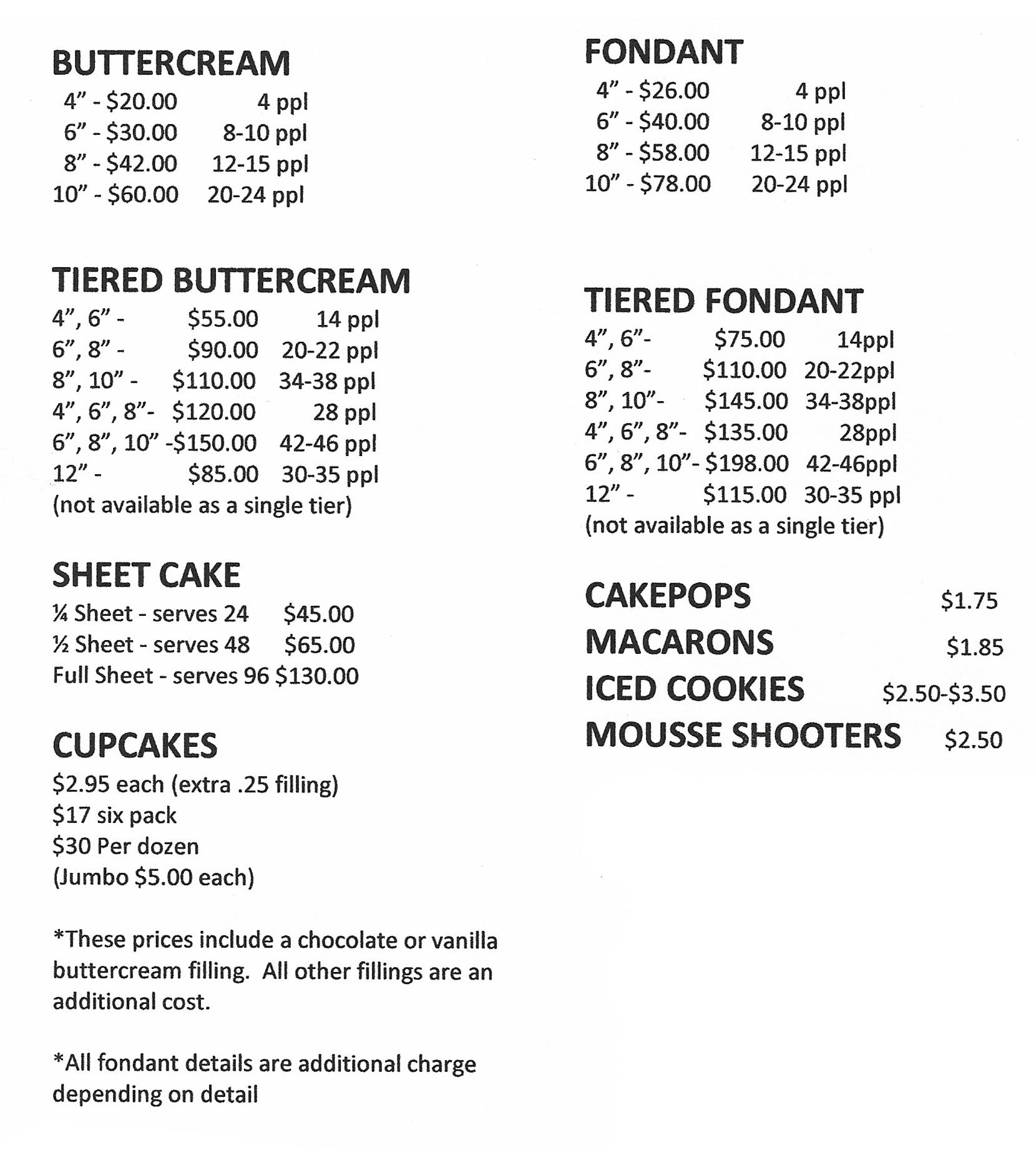 cupcake and cake pricing