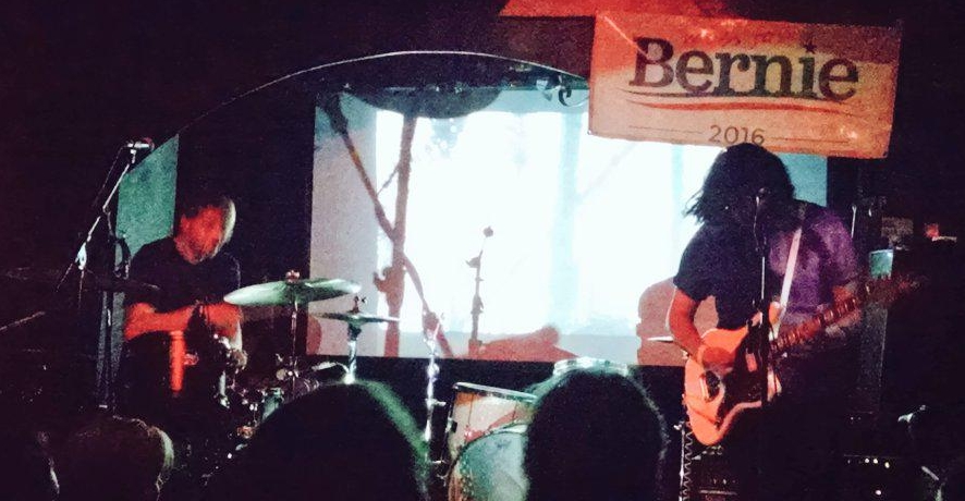 Peter Bartash (left) and Socrates Cruz (right) of Killer Cortez performing at a Boston for Bernie Sanders Benefit Show - The Middle East, Cambridge MA 7/2/15