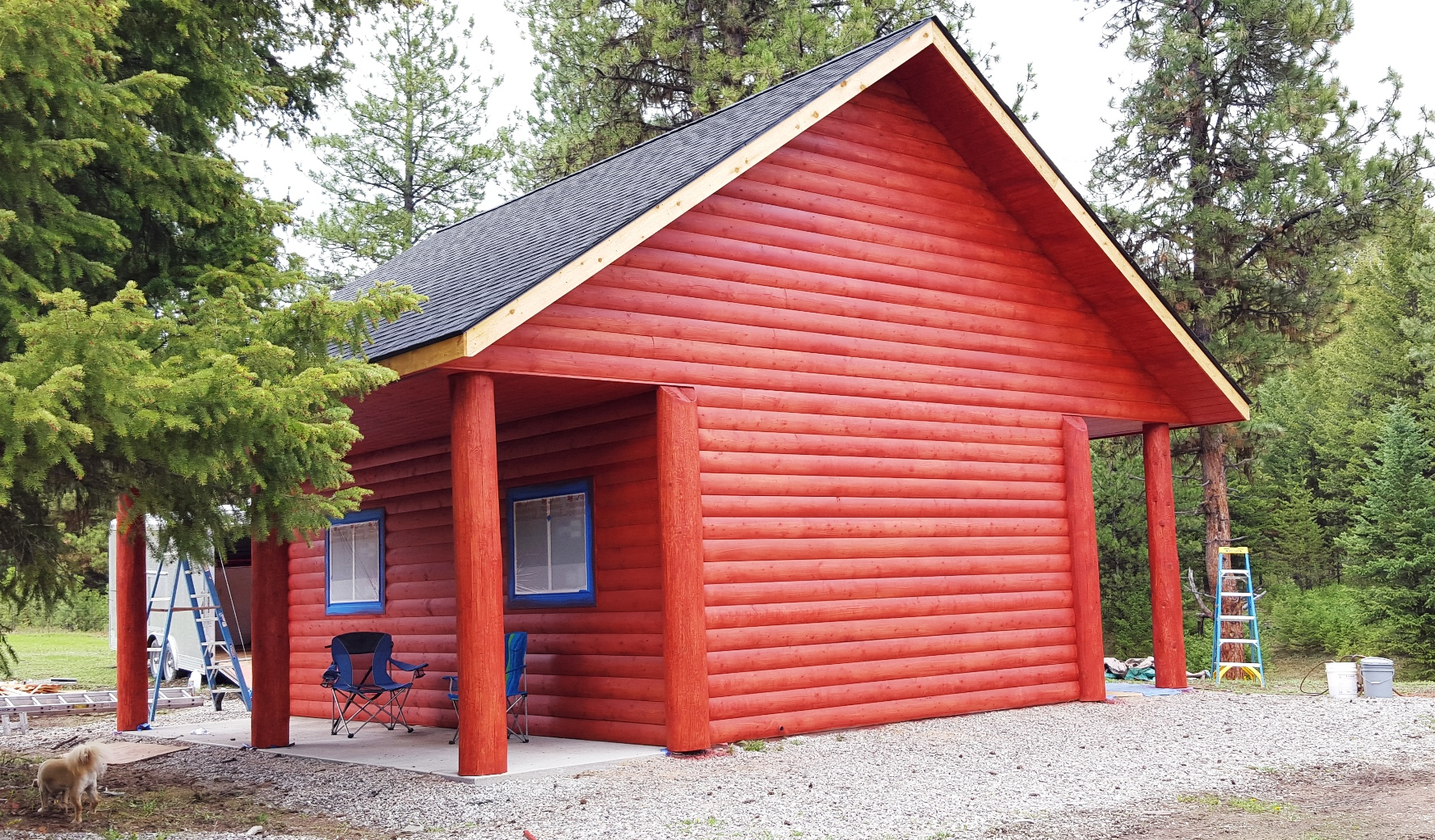 2016-04-25 - Newly Stained Garden Shed at SR2 and Puppy Montana