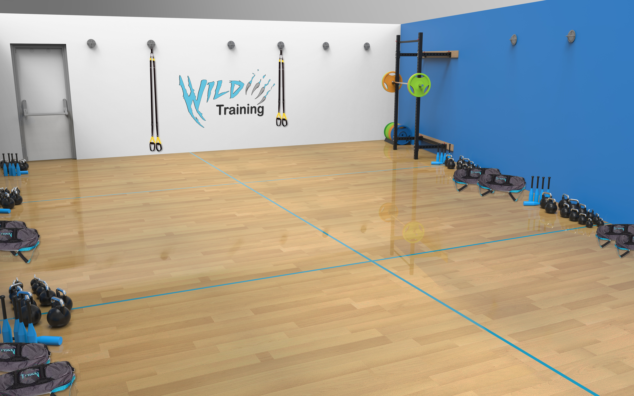 The design of the downstairs of our gym. Personal Training Zones and Urban Strength Training Facility for Calisthenics and functional training.