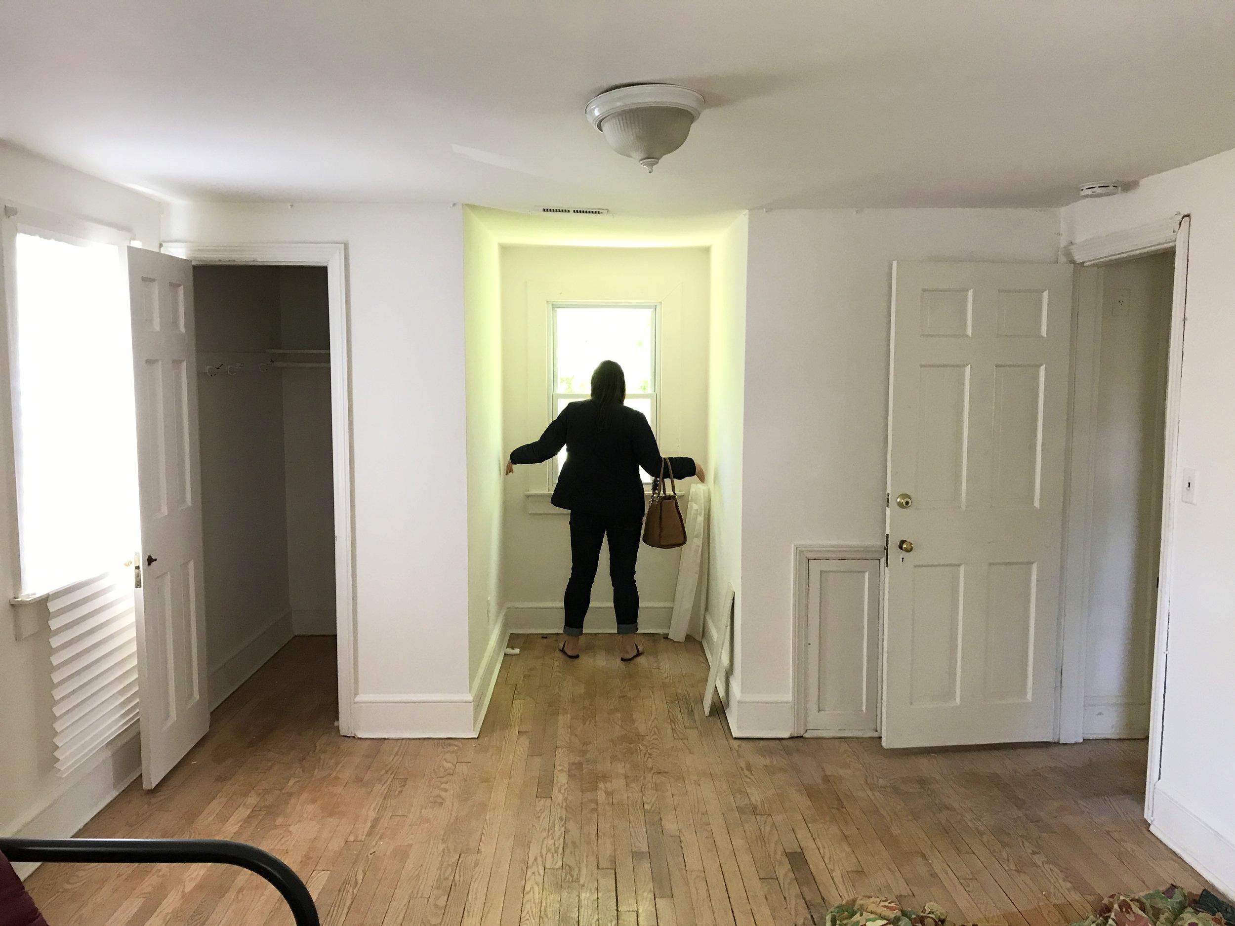 Before the renovation - Walk-in closet on the left, bedroom entrance off to the right