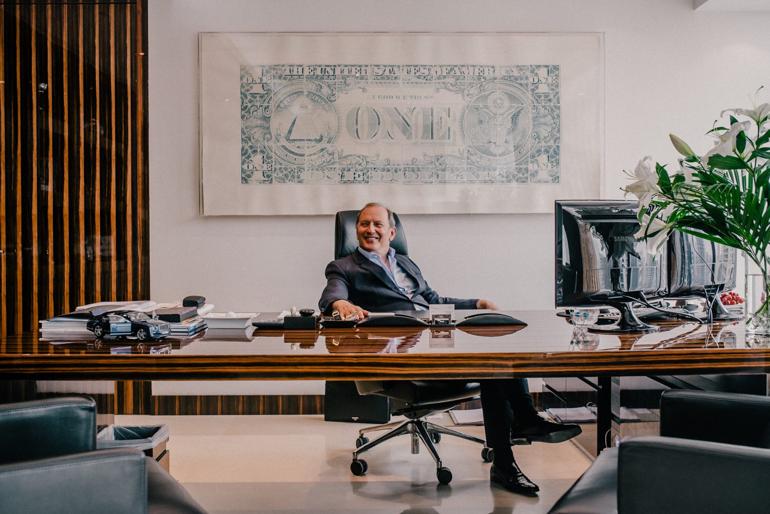 Diamond broker Serge Neiger in his office in Dubai for Inc. Arabia.