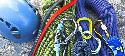 Connecticut top rope anchor setup often requires long static ropes and creative anchoring to reach the cliffs edge.