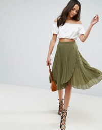 ASOS Pleated Midi Skirt with Wrap Front Detail Green.jpeg
