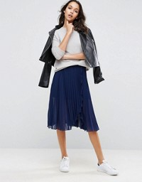 ASOS Pleated Midi Skirt with Wrap Front Detail Navy.jpeg