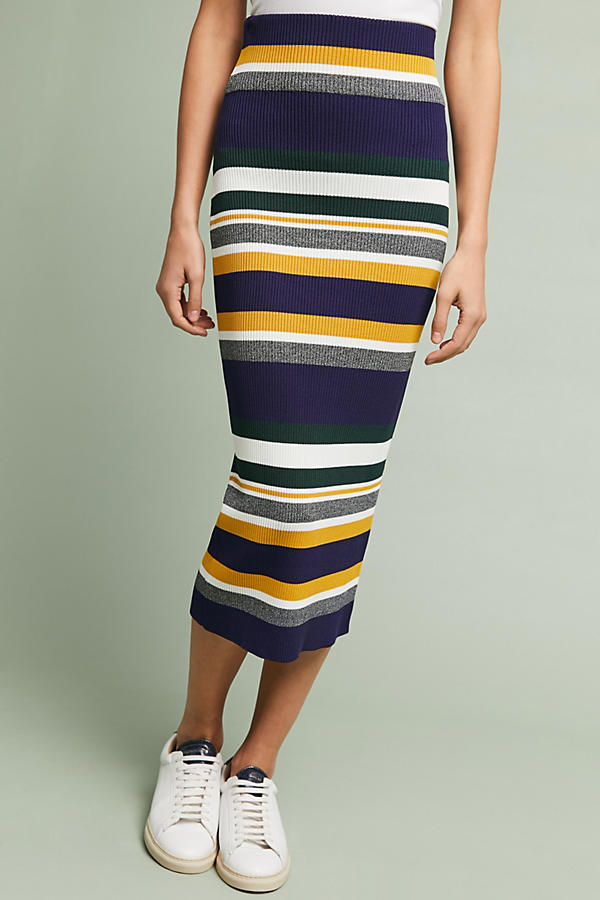 Anthro Striped Midi Sweater Skirt.jpeg