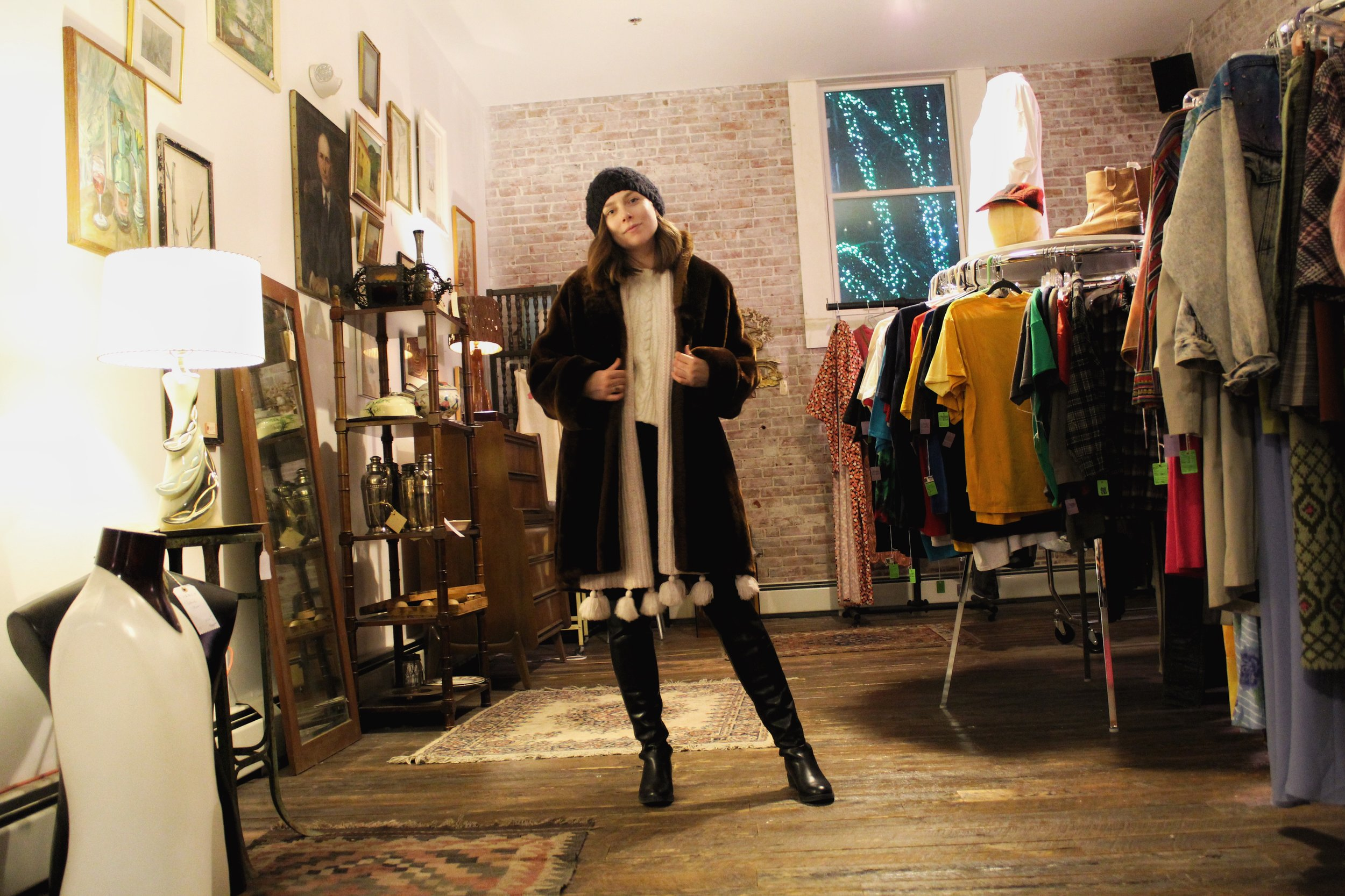 The fur coat I really should have bought! If anyone in Portland wants to pick this up for me, I'd love you forever :)