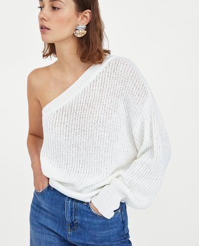 Zara White One Shoulder Sweater.jpg