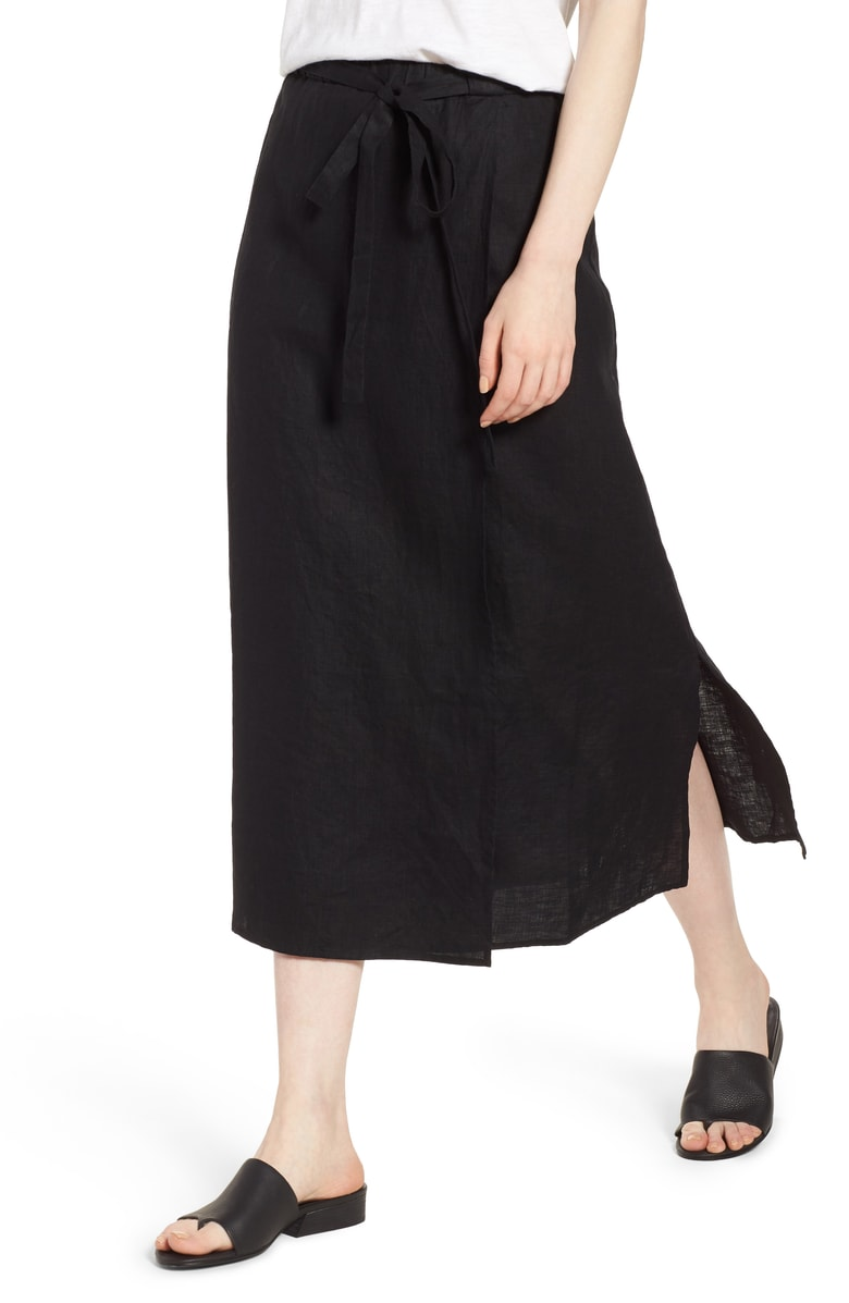 Eileen Fisher Faux Wrap Organic Linen skirt.jpg