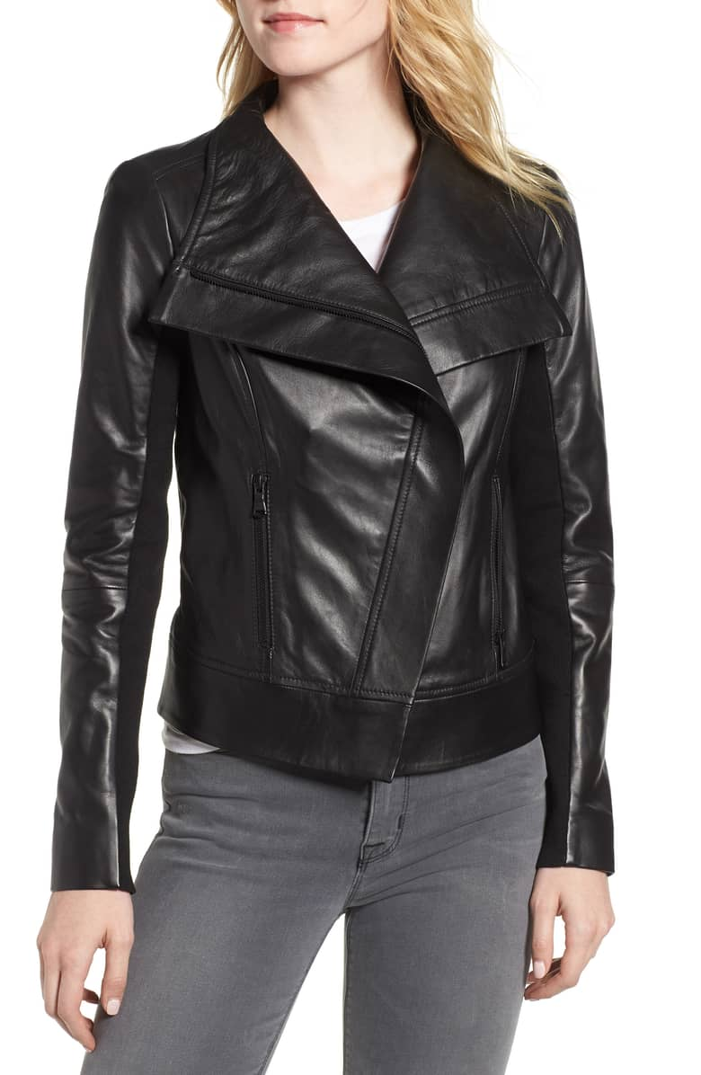Trouve drape front leather jacket.jpeg