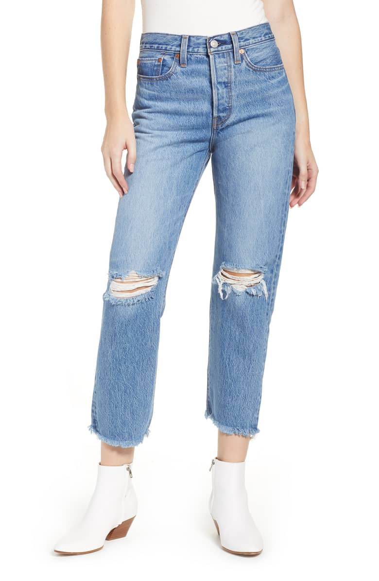 Levis Wedgie High Waist Ripped Crop Straight Leg Jeans .jpeg
