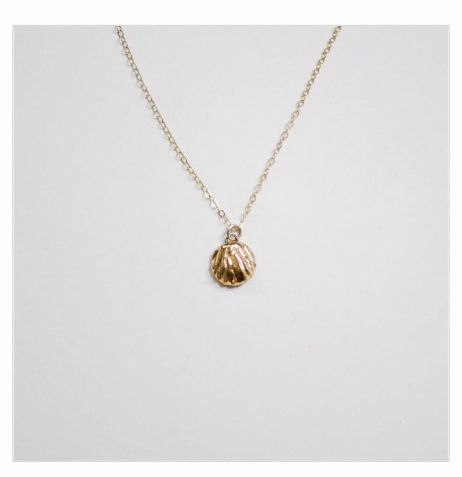 Porcelain and Stone Gold Shell Charm Necklace.jpg