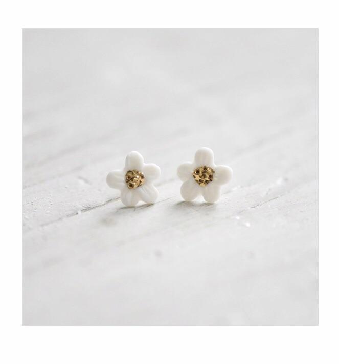 Porcelain and Stone Flower Bloom Hibasies Earrings.jpg
