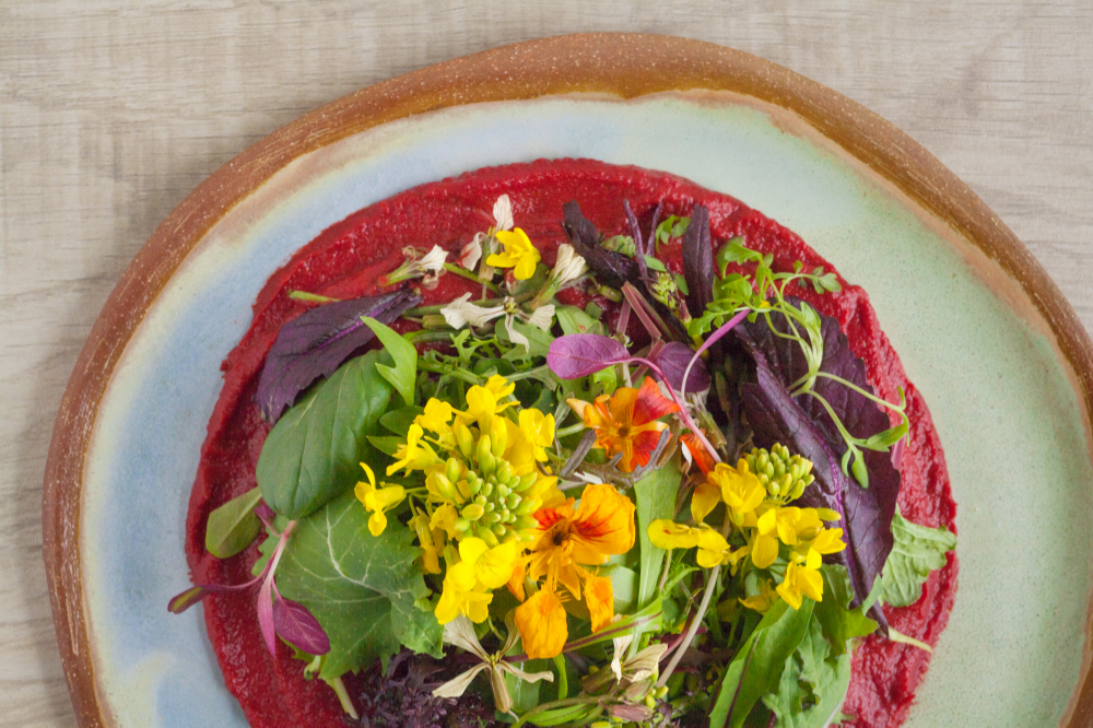 Spring Greens Mix with Beet Dressing/Dip