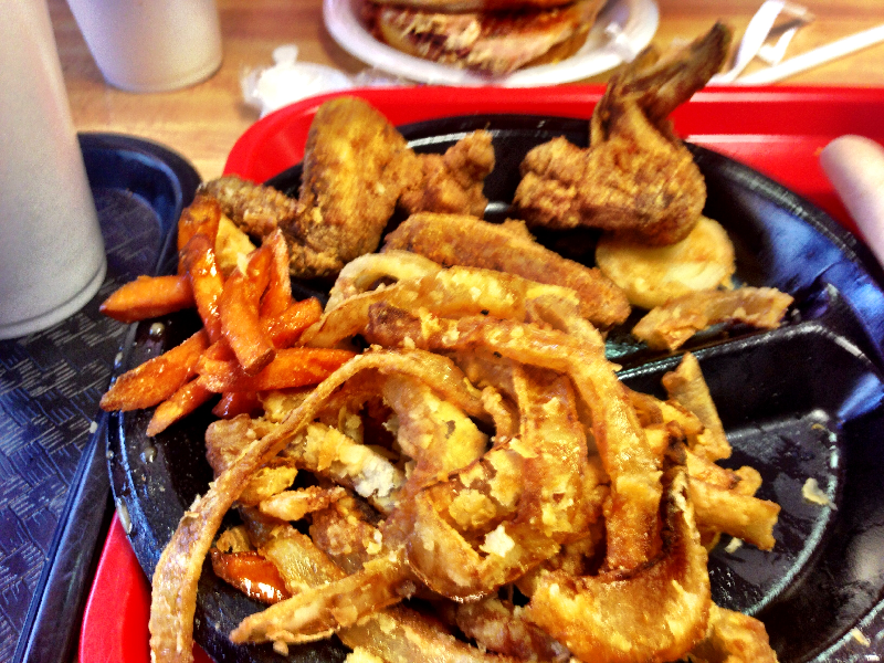 Fried Onion Rings, Chicken Wings, and Sweet Potato Fries