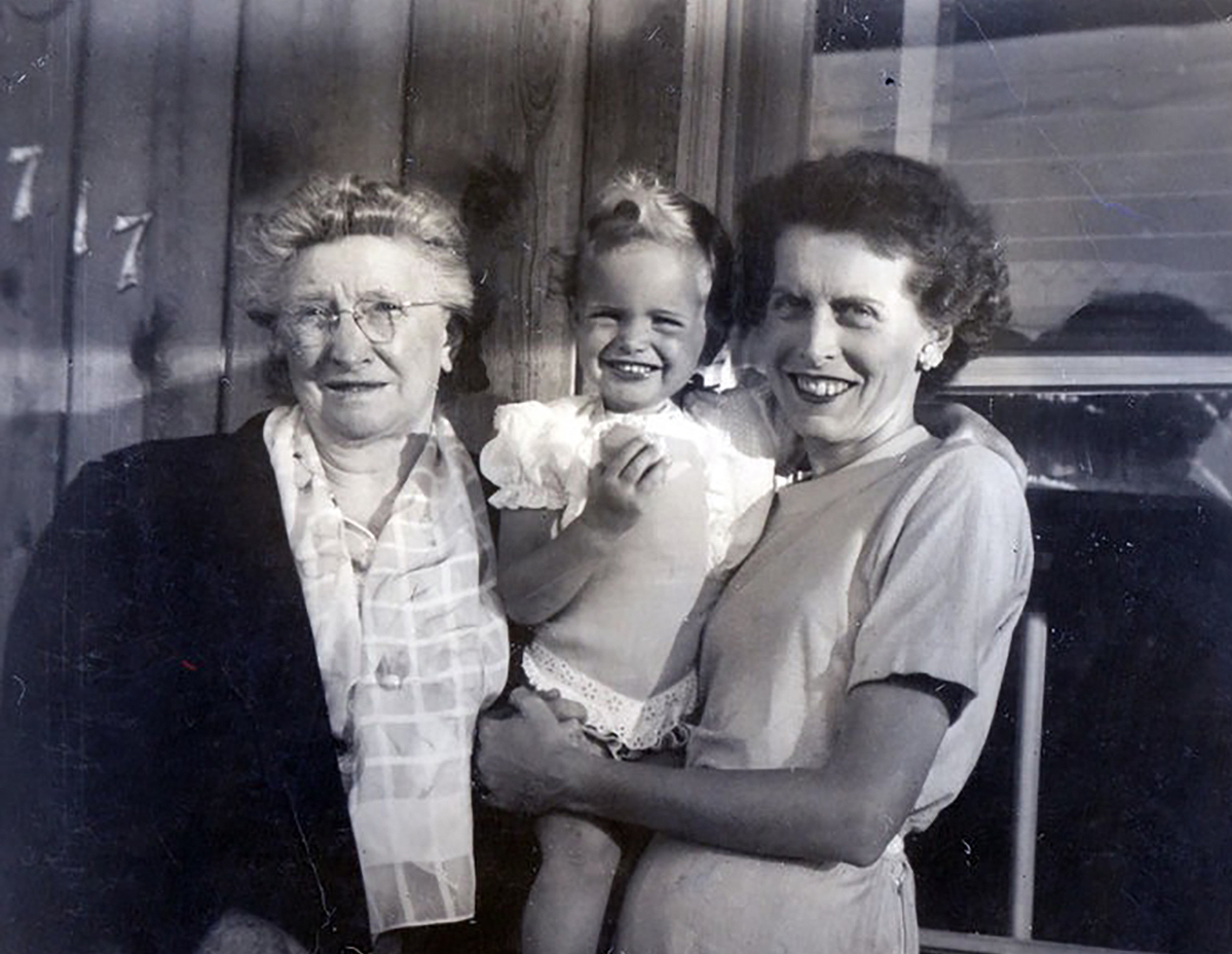 from left, Grandmother Josie, author Jo, mother, Babe