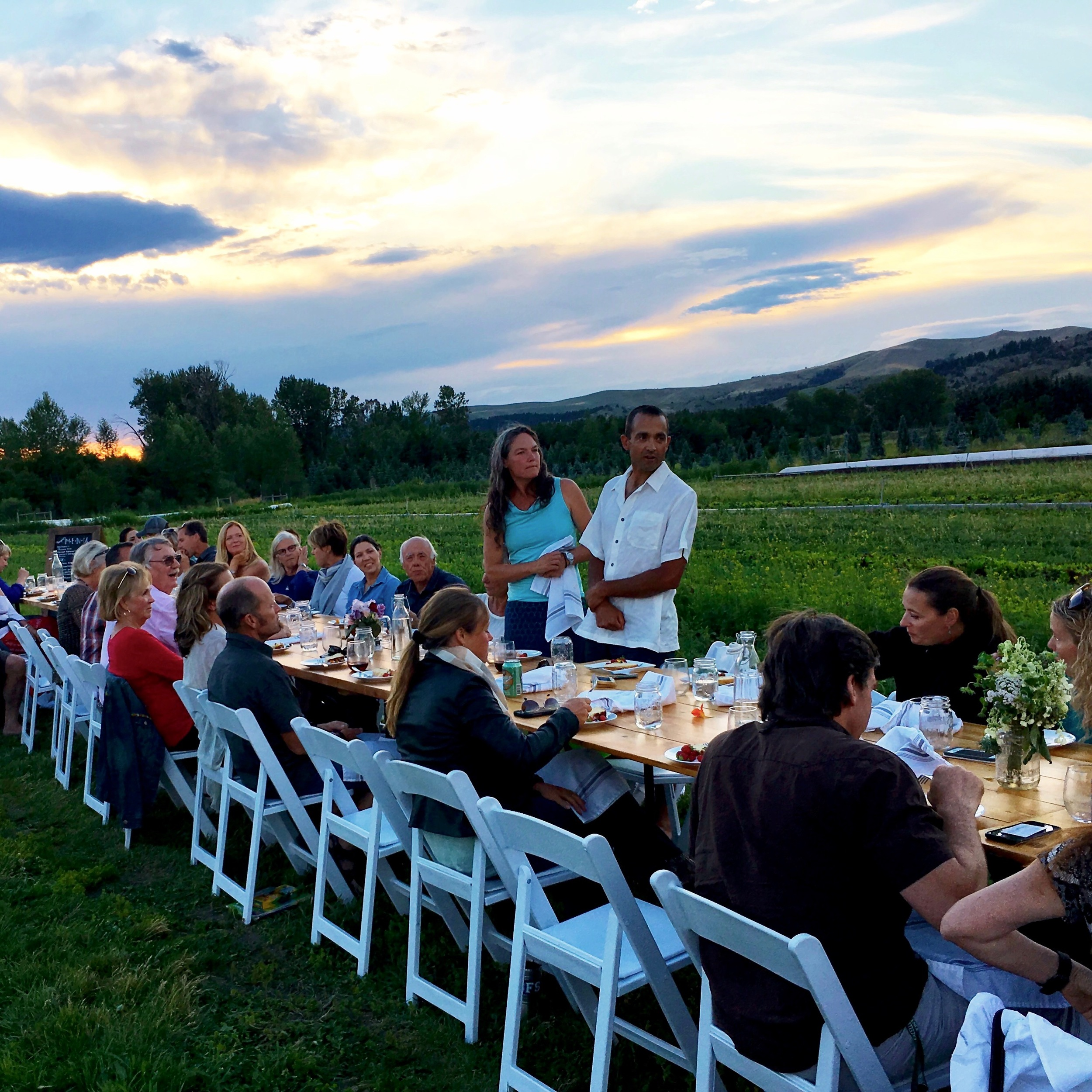 This is Farm-to-Table the real deal. Last night we enjoyed a SeasonalMontana Farm-to-Table dinner at Gallatin Valley Botanical Farm prepared by chef Melissa Harrison. We've been attending Melissa's farm dinners since she started five years ago. What a delicious and friendly way to spend a lovely summer evening. Thank you, Melissa, for all your effort and hard work. It is appreciated.