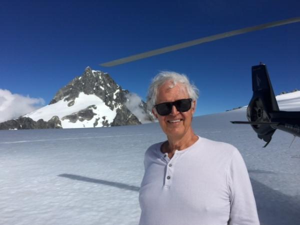 Ed Warren on a glacier high above Milford Sound.