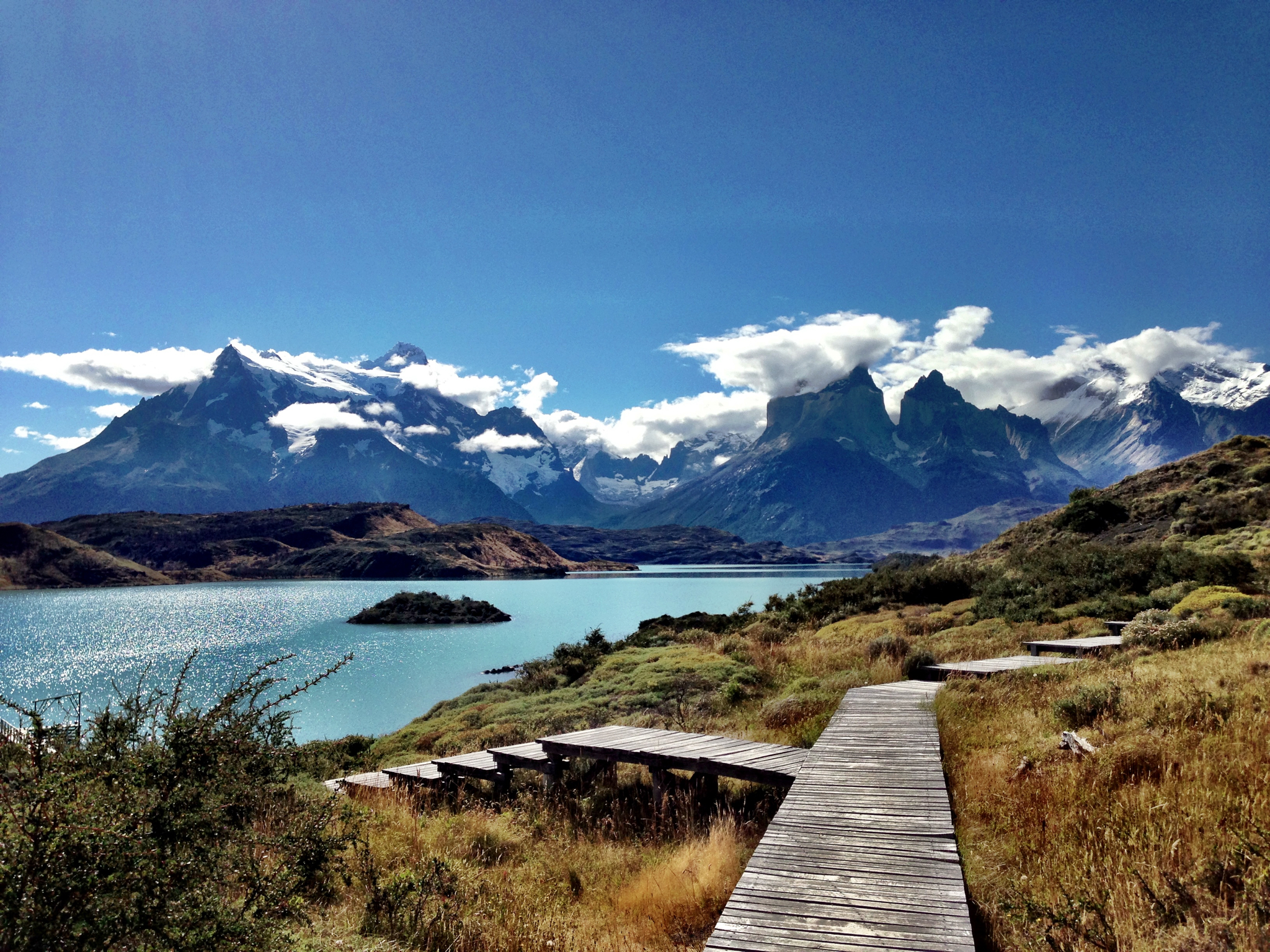Wooden Walkway. View from Explora Lodge, Chilean Patagonia, Torres de Paine