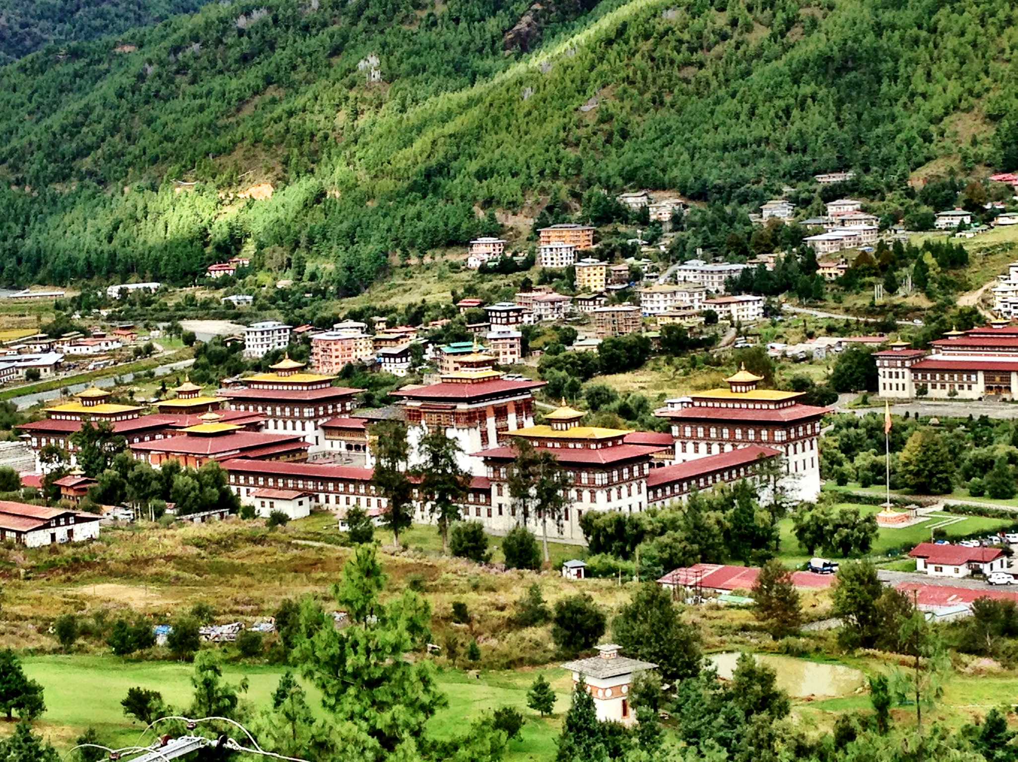Thimphu, Capital of Bhutan.  fortified monastery and government palace with gold leaf roofs